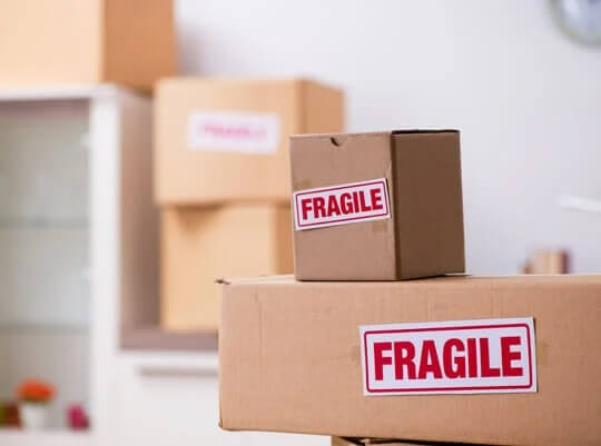 Box containing fragile items