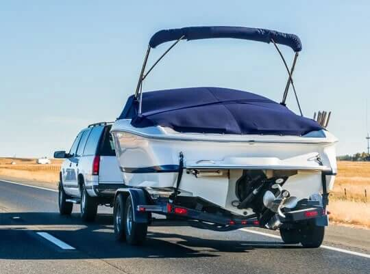 a boat on a trailer during transport