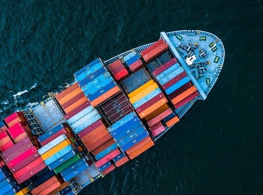 Cargo on ship being transported internationally across Europe