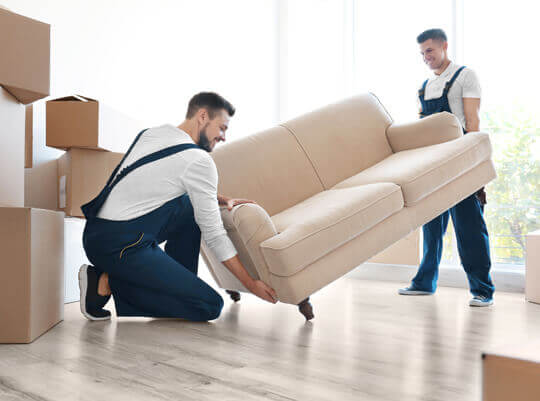Worker conducting furniture removals for transport