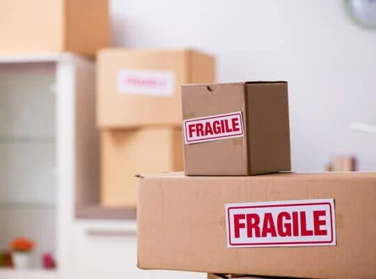 cardboard box labelled fragile